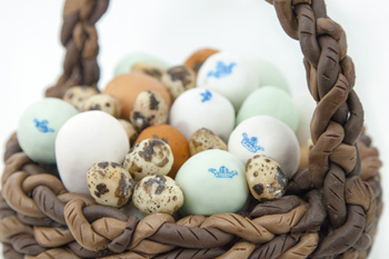 Basket with selection of eggs